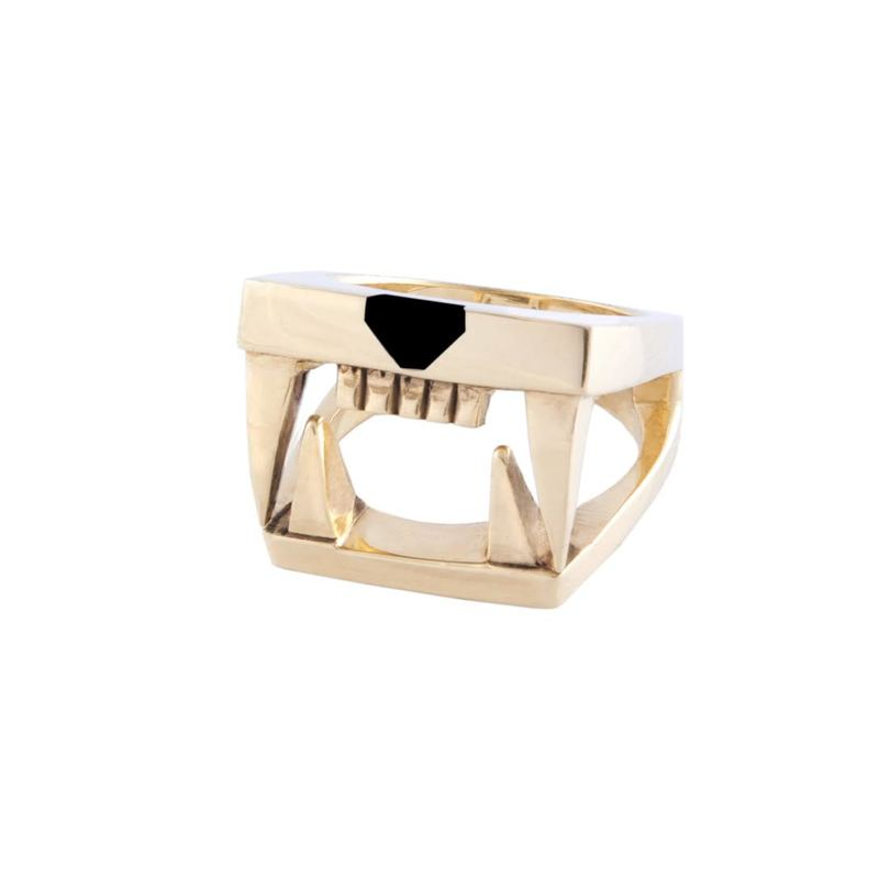 Jaguar Ring 925 Stainless Silver and Onyx Stone 18 K Gold Vermeil