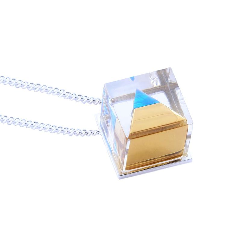 Plexi Capsuled Blue Opal Pyramid Necklace