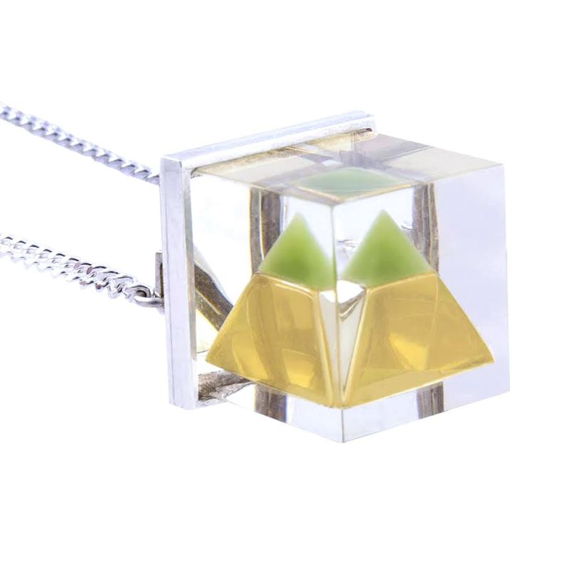 Plexi Capsuled Green Jade Pyramid Necklace